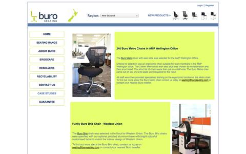 Screenshot of Case Studies Page buroseating.co.nz - Buro Chairs in their environments - captured Oct. 5, 2014