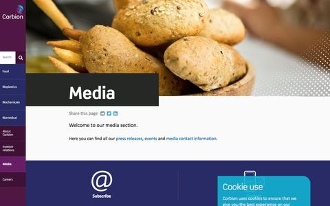 Screenshot of Press Page corbion.com - Media - captured July 11, 2016