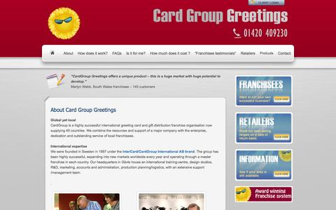 Screenshot of About Page cardgroupgreetings.com - CardGroup Greetings Franchise : International greeting card franchise opportunity - captured Oct. 22, 2014