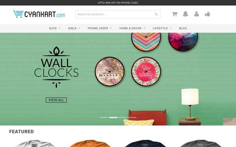 Screenshot of Home Page cyankart.com - India's Finest Style Lounge for Apparel, Accessories & More - Cyankart.com - captured July 18, 2016