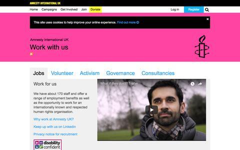 Screenshot of Jobs Page amnesty.org.uk - Jobs | Work with us | Amnesty International UK - captured June 10, 2018