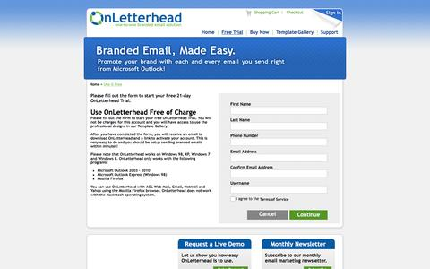 Screenshot of Trial Page onletterhead.com - OnLetterhead Branded Email - Email Templates & Email Stationary - Plugs into your email system and allows you to send one-to-one branded emails with ease! - captured March 30, 2016