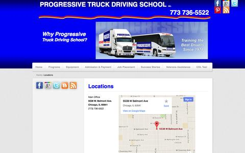 Screenshot of Locations Page cdltruck.com - Locations, Illinois, Chicago, CDL | Progressive Truck Driving School - captured Oct. 3, 2014