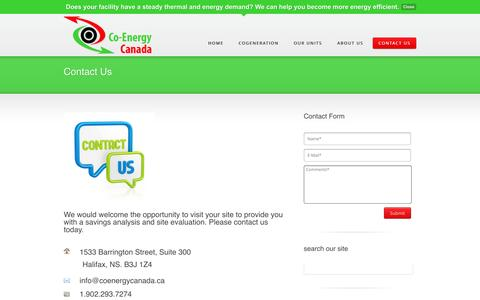 Screenshot of Contact Page coenergycanada.ca - Contact Us | Co-Energy Canada Homepage - captured Sept. 30, 2014