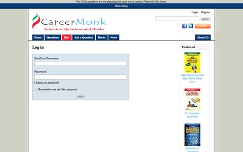 Screenshot of Login Page careermonk.com - Log in - CareerMonk Publications - Interview Questions | Books - captured Sept. 23, 2014