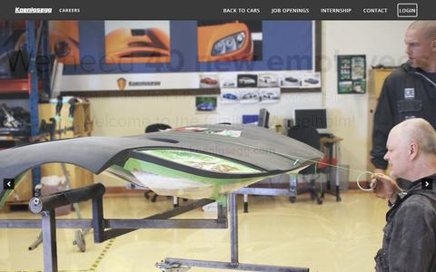 Screenshot of Jobs Page koenigsegg.com - Home - Koenigsegg Careers - captured Feb. 17, 2018