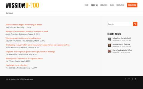 Screenshot of Press Page missionutoo.org - Newsroom   Mission U-Too - captured Jan. 14, 2016