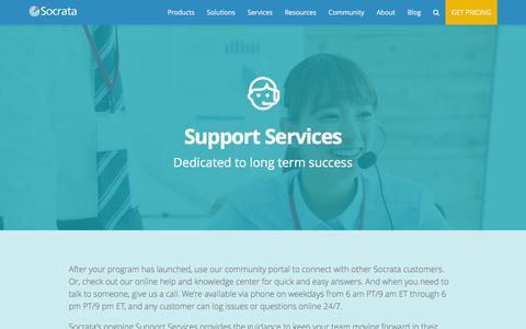 Screenshot of Support Page socrata.com - Support - Socrata, Inc. - captured April 29, 2016