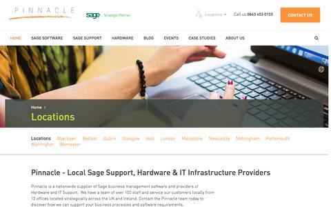 Screenshot of Locations Page pinnacle-online.com - Pinnacle Sage Business Partner Sage Support UK & Ire... - captured Jan. 28, 2016