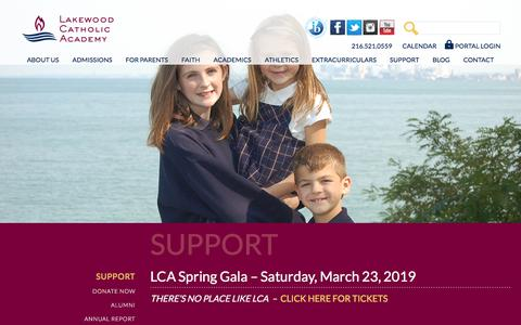 Screenshot of Support Page lakewoodcatholicacademy.com - Supporting LCA | Donate to LCA | Lakewood Catholic Academy - captured July 4, 2019