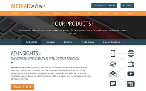 Screenshot of Products Page mediaradar.com - Our Products | MediaRadar - captured Nov. 13, 2016