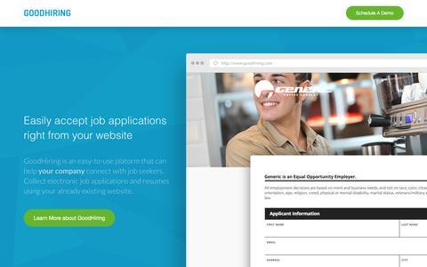 Screenshot of Home Page goodhiring.com - GoodHiring | Hire better with GoodHiring - captured Dec. 12, 2015