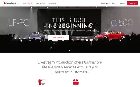 Screenshot of Services Page livestream.com - Live Video Services | Livestream Production - captured Jan. 27, 2018