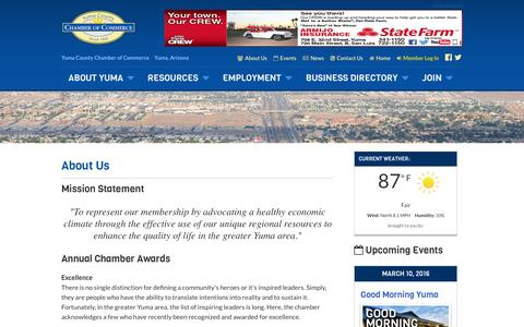 Screenshot of About Page yumachamber.org - About Us - Yuma County Chamber of Commerce - captured Feb. 13, 2016