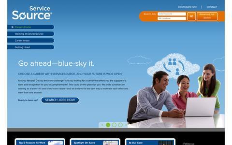 Screenshot of Jobs Page servicesource.com - Welcome to ServiceSource Careers - ServiceSource Careers - captured Sept. 18, 2014