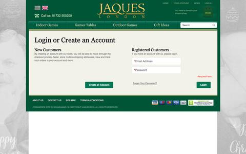 Screenshot of Login Page jaqueslondon.co.uk - Customer Login - captured Jan. 9, 2016