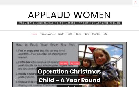 Screenshot of Home Page applaudwomen.com - Home - Applaud Women - captured July 2, 2018