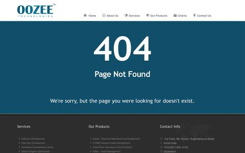 Screenshot of Support Page 404 Page oozeetech.com - 404 Page not Found - captured Oct. 26, 2014