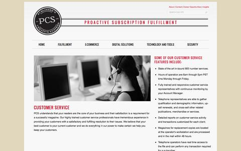 Screenshot of Support Page pcspublink.com - Customer Service  –   Publisher's Creative Systems - captured Sept. 19, 2014