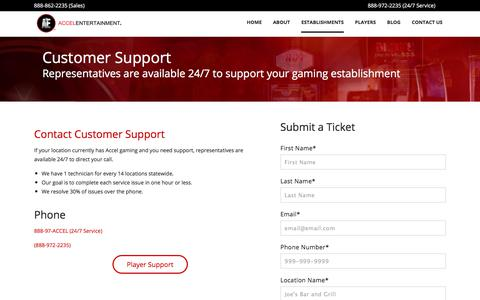 Screenshot of Support Page accelentertainment.com - Customer Support - captured July 28, 2018