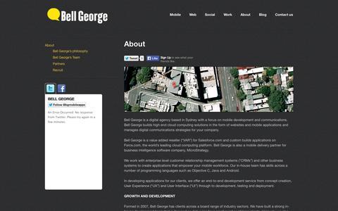 Screenshot of About Page bellgeorge.com - About Bell George   Sydney-based Digital Agency   Digital communications - captured Sept. 30, 2014