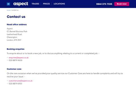Screenshot of Contact Page aspect.co.uk - Contact Us | Aspect - captured Nov. 17, 2018