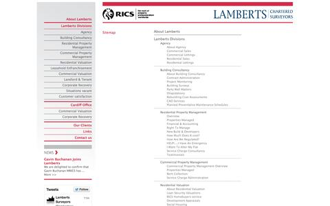 Screenshot of Site Map Page lambertsurv.co.uk - Lamberts Chartered Surveyors - captured Oct. 1, 2014