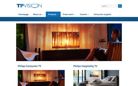 Screenshot of Products Page tpvision.com - Products - TP Vision Global - captured Aug. 16, 2016