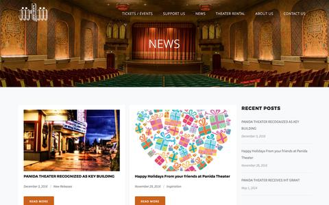 Screenshot of Press Page panida.org - The Panida Theater | News - captured April 28, 2017