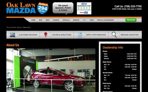 Screenshot of About Page oaklawnmazda.com - Mazda and Used Car Dealer Chicago Hickory Hills | Oak Lawn Mazda - captured Oct. 29, 2014