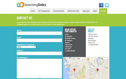 Screenshot of Contact Page learninglinks.co.uk - Contact | Learning Links - captured Oct. 2, 2014