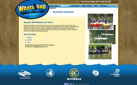Screenshot of Services Page whatssup.net - Seattle Stand Up Paddle Boarding SUP Bothell   What's SUP - captured Oct. 26, 2014