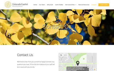 Screenshot of Contact Page coloradocap.com - Contact - Colorado Capital Management - Boulder, Colorado - captured Aug. 13, 2017