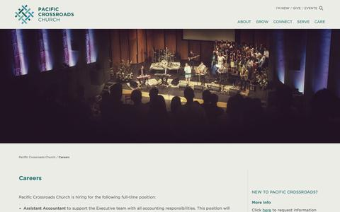 Screenshot of Jobs Page pacificcrossroads.org - Careers - Pacific Crossroads ChurchPacific Crossroads Church - captured Jan. 24, 2016