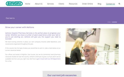 Screenshot of Jobs Page ashtonshospitalpharmacy.com - Take Your Career to the Next Step at Ashtons Pharmacy Services - captured Dec. 13, 2018
