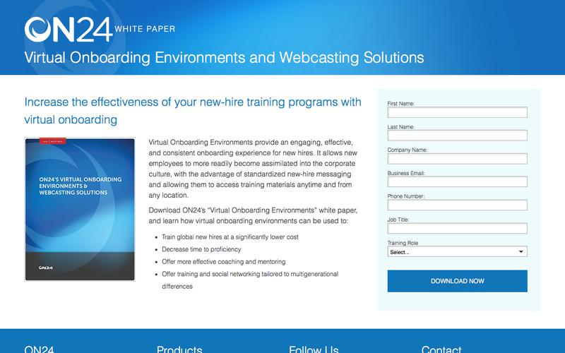 On24's Virtual Onboarding Environments & Webcasting Solutions