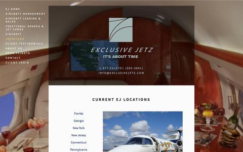 Screenshot of Locations Page exclusivejetz.com - Locations — Exclusive Jetz - captured Oct. 27, 2014