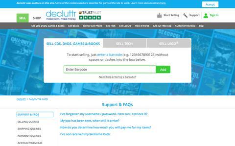 Screenshot of Support Page decluttr.com - Support & FAQs| Decluttr - captured Feb. 5, 2018