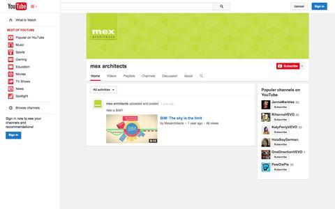 Screenshot of YouTube Page youtube.com - mex architects  - YouTube - captured Nov. 3, 2014