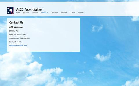 Screenshot of Contact Page acdassociates.com - Contact us - captured Sept. 30, 2014