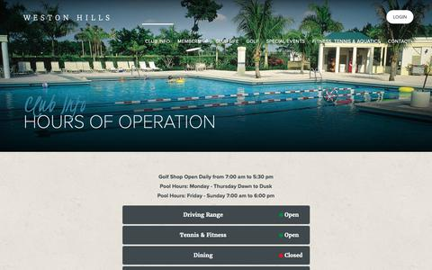 Screenshot of Hours Page westonhillsgolfclub.com - Hours of Operation - Weston Hills Country Club - captured Oct. 18, 2018