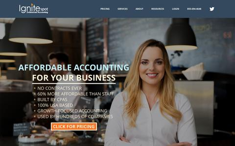 Screenshot of Home Page ignitespot.com - Outsourced Accounting Services for Your Business - captured Jan. 8, 2016