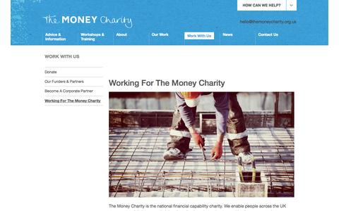 Screenshot of Jobs Page themoneycharity.org.uk - Working For The Money Charity | The Money Charity - captured Sept. 30, 2014