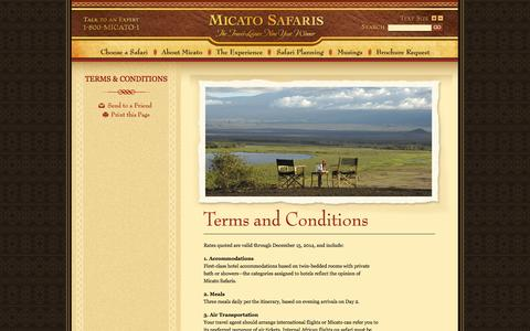 Screenshot of Terms Page micato.com - Luxury African Safari Vacation, Terms and Conditions - Micato Safaris - captured Oct. 27, 2014