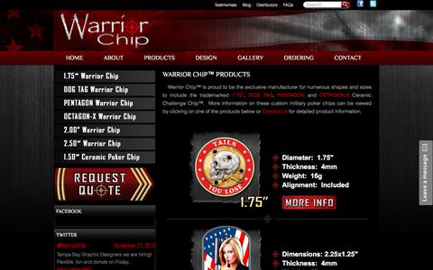Screenshot of Products Page warriorchip.com - Custom Military Poker Chips | Custom Poker Chips, Military Poker Chips, Poker Chip Challenge Coins, Challenge Chips - captured Sept. 21, 2018