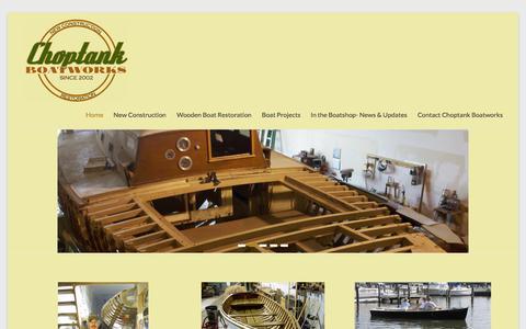 Screenshot of Home Page choptankboatworks.com - Choptank Boatworks | Build & Restore Wooden Boats - captured July 20, 2015