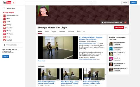 Screenshot of YouTube Page youtube.com - Bootique Fitness San Diego  - YouTube - captured Oct. 23, 2014