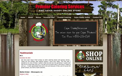 Screenshot of Testimonials Page gumbodaddycafe.com - Gumbo Daddy's Cafe and Premier Catering Services - captured Oct. 3, 2014