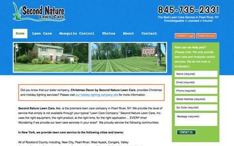Screenshot of Home Page secondnaturelawncare.com - Lawn service, tree and shrub care serving Rockland, Westchester, Orange NY and Bergen NJ - captured Dec. 1, 2016