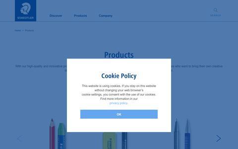 Screenshot of Products Page staedtler.com - Products   STAEDTLER - captured Oct. 1, 2018